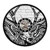 LKJHGU Elk Disco de Vinilo Reloj de Pared diseño Moderno Animal decoración 3D Ciervos Reloj de Vinilo Reloj de Pared Sala de Estar Dormitorio decoración