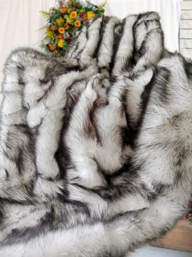 Faux Fur Throw Blanket King Size 200x150cm Sofa Bed Throw Silky Soft With Black Tips