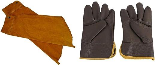 yotijar Mangas de Soldagem Capas de Proteção de Braço + Luvas de Soldador de Couro Capa de Mãos