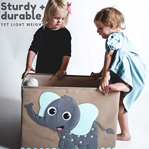Hurricane Tots Large Toy Chest. Canvas Soft Fabric Children Toy Storage Bin Basket with Flip-top Lid. Collapsible Gray Toy Box for Kids, Boys, Girls, Toddler and Baby Nursery Room (Elephant)