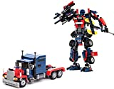 Kit de construcción de transformers. 377 piezas para armar el robot o el camión.