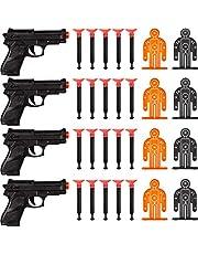 Juego de Pistola de Dardos Apuntar la Pistola de Policía de 32 Piezas Incluye 4 Pistolas de Juguete, 20 Dardos de Ventosa Suave, 8 Objetivos para Adolescentes y Adultos