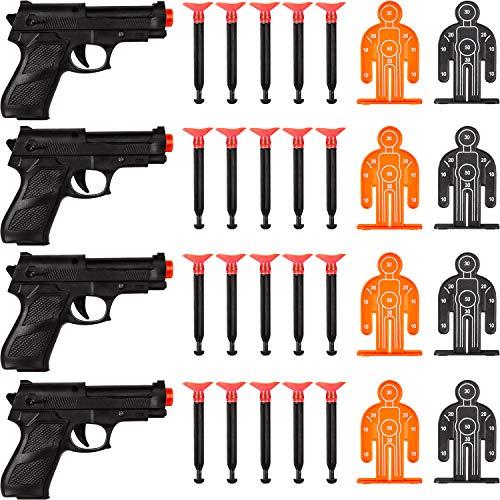 32 Stücke Zielen Das Polizei Pistolen Pfeil Waffen Set enthält 4 Spielzeug Pistolen, 20 Weiche Saugnapf Pfeile und 8 Ziele für Jugendliche und Erwachsene