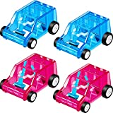 4 Pieces Mini Car Table Dust Cleaning Trolley Keyboard Desktop Dust Cleaner Confetti Pencil Eraser Dust Sweeper Cleaning Trolley Toy for Home Office Car, Blue and Red