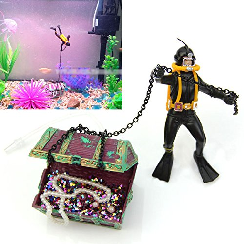 Mayitr Air Action Diver Treasure Chest Decor Ornament for Aquarium Fish Tank, Random Color