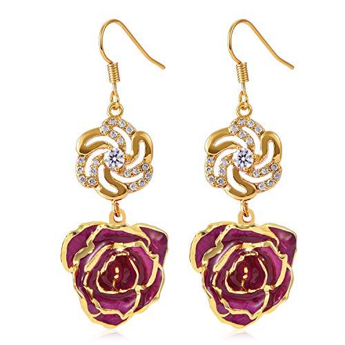 Pendientes para mujer oro de 24 K con rosas y pendientes colgantes para mujer, joyería hecha de rosa fresca, regalo de cumpleaños de última generación de Filfeel