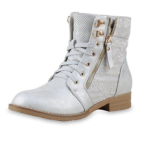 SCARPE VITA Damen Schnürstiefeletten Spitze Stiefeletten Zipper Worker Boot 160297 Silber Spitze 36