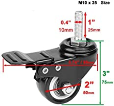 Material Handling Products 1.5 Inch Heavy Duty Swivel Caster Wheels Threaded Stem Casters with Brake Trolley Furniture Cas...