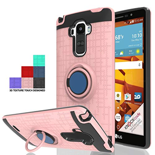 Wtiaw Compatible with LG G Stylo Case,LG LS770 Case,LG G4 Stylus Case,LG G Stylo H631 Case, LG G Stylo MS631 Case,LG G Stylo Case,360 Degree Rotating Ring Kickstand Case for LG LS770-CH Rose Gold
