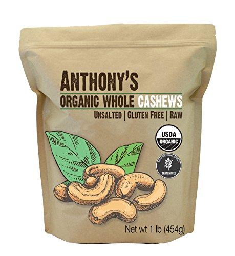 Anthony's Organic Whole Cashews, 1 lb, Raw, Unsalted & Gluten Free