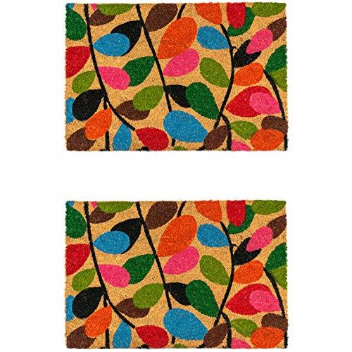 Nicola Spring Felpudo Antideslizante - Diseño de Hojas - Fibra de Coco con Reverso de PVC - 90 x 60cm - Pack de 2