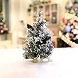 H·Aimee Mini árbol de Navidad Artificial Reykjavik en Saco marrón Decorativo,nevado,Abeto navideño,Adorno pequeño 30/40/50/60cm