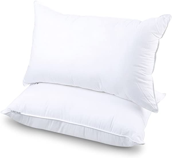 LANGRIA Luxury Hotel Collection Bed Pillows Plush Down Alternative Sleeping Pillow Cotton Cover Soft Comfortable For Side Back Stomach Sleeper Queen 20 X 30 2 Pack