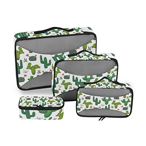 CPYang Juego de 4 cubos de embalaje de flores de cactus tropicales, organizadores de viaje, bolsa de almacenamiento de malla para maleta
