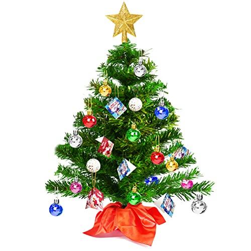 Árbol de Navidad Pequeño 50cm, Mini Árbol de Navidad Artificial con 15 Bolas de Navidad de Colores y 6 Tarjetas Deseos, Montaje Rápido, PVC Ignífugo, Decoración Navideña Interiores para Mesa, Oficina