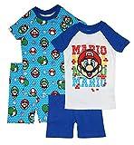 SUPER MARIO Boys' Short Sleeve 4pc Pajama Set (8, Multi)
