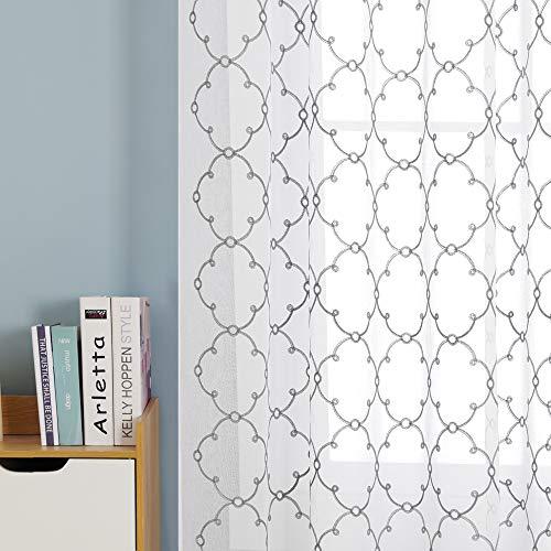 Deconovo Visillos para Ventanas Gasa Efecto Lino Cortina Transparente para Habitación Bebe Infantil 2 Paneles 140 x 175 cm Gris