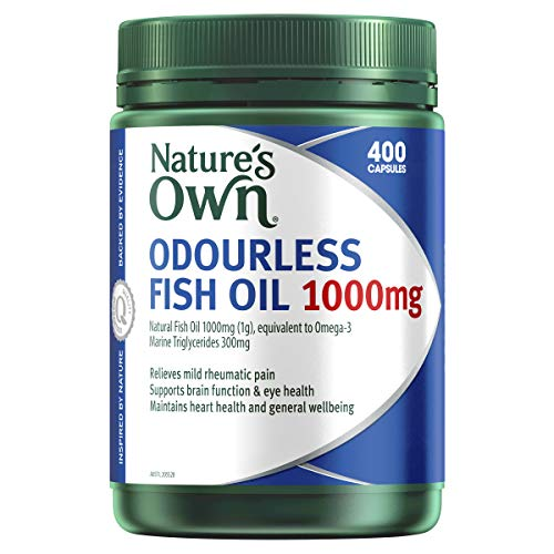 Nature's Own Odourless Fish Oil 1000mg - Naturally-Derived Omega-3 - Maintains General Health and Wellbeing, 400 Capsules