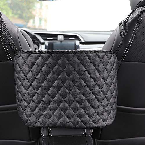 Car Pocket Handbag Holder,Leather Seat Back Organizer Holder Barrier of Backseat Pet Kids, Handbag Holder for Purse & Pocket Smaller Item (Black)