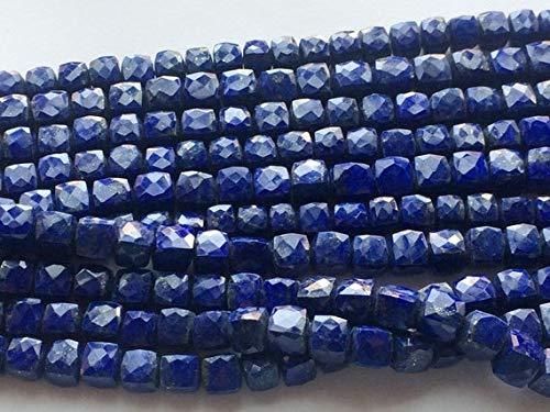World Wide Gems Beads Gemstone 1 Strand Natural Lapis Lazuli Faceted Box Beads, Lapis Lazuli Cubes, 8 - 9 mm largo Código HIGH-16157