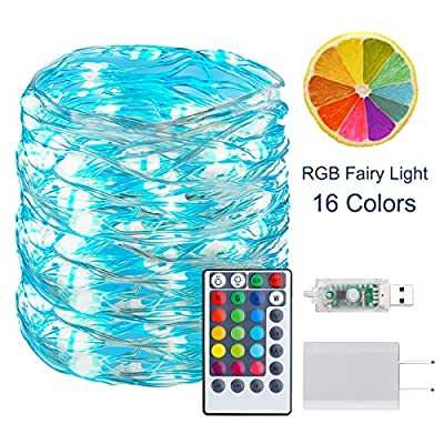BINZET 33Ft Fairy Lights - With 100 Leds 16 [Multi] Colors Changing Starry String Lights - Remote Controlled Waterproof Twinkle Lights for Bedroom Party Halloween Christmas Decor [USB Style with Plug]