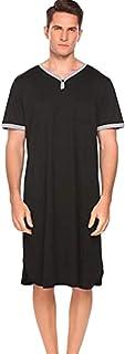 Camisa de Dormir Larga para Hombre Pijama de Manga Corta con Cuello en V Cuello sólido Suelto Bolsillos en el Pecho Suéter...