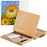 Magicfly Adjustable Tabletop Easel with Storage Drawer for Small Space, Sketchbox Desktop Easel for Diamond Painting, Drawing, Portable Wood Art Easel with 5 Canvas and 1 Paint Palette