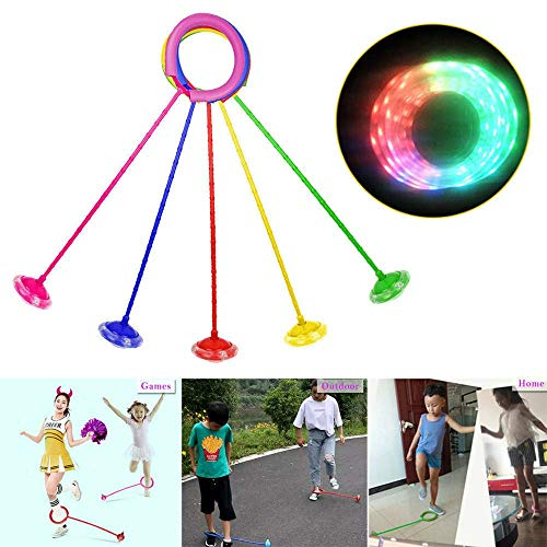 LONG-X Kinder LED Blinkt Springen Seil Ball Bunte Ankle Überspringen Springseile Sport Schaukel Ball Spielzeug Spaß Spielplatz Sport Kits,Blau