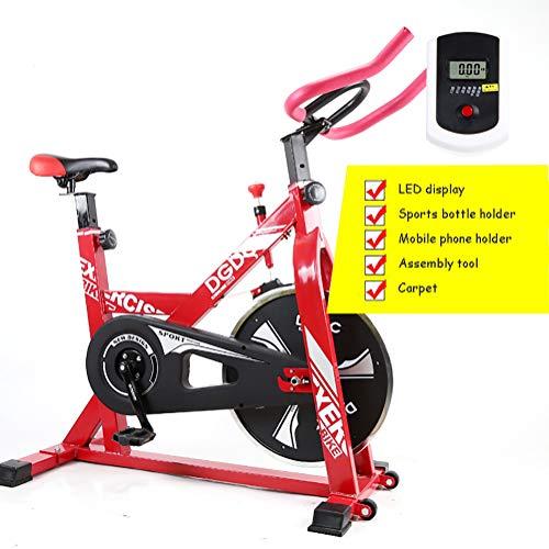 HHH Multifunción Ciclismo de Interior Bicicleta de Entrenamiento para Ejercicios Cardiovasculares Calentamiento Quemar Calorías Control Magnético Spinning Bike,Red