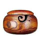 Garnschale aus Holz - Perfekte Halterung für Ihre Garne beim Stricken oder Häkeln - Marxways Handgefertigt Garnhalter - Staubdicht Hölzerne Garn Schüssel Home Nähbedarf Aufbewahrungsbox (mit Deckel)
