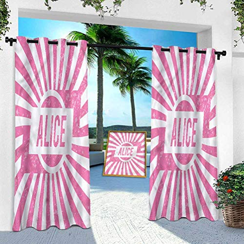 Aishare Store Patio Outdoor Curtains, Alice,Pink Color Grunge Look, W 100' x L 84' Window Treatment Panel for Porch Balcony Pergola Gazebo(1 Panel)