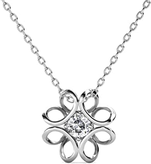 Cate & Chloe Alexis Charming Flower Pendant Necklace, Women's 18k White Gold Plated Necklace with Large Sparkling Solitair...