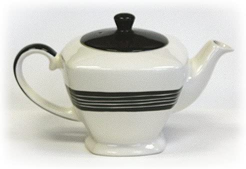 Hues Brews Ivory White with Black 34 Oz Hand Painted Teapot Home Decor Tea Kettle 9 75 x 6 x product image