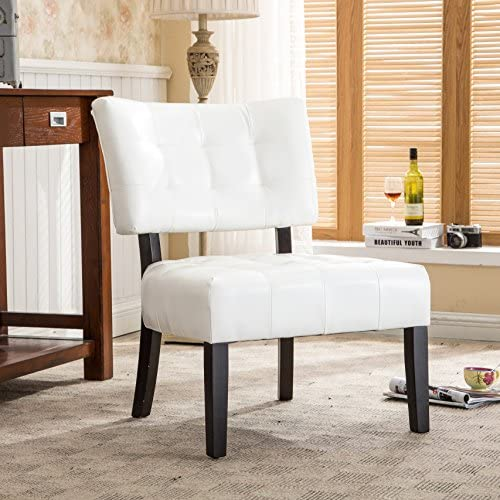 Best Roundhill Furniture Blended Leather Tufted Accent Chair with Oversized Seating, Ivory