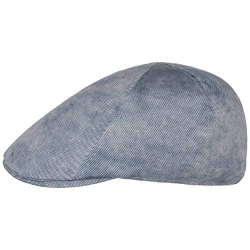 Lipodo Flatcap Used Look Denim para Hombre - Gorra Plana en Look Tejano - Gorra de Hombre con Cinta elástica - Flat Cap con algodón - Gorra para Primavera/Verano Azul-mélange M (57-58 cm)