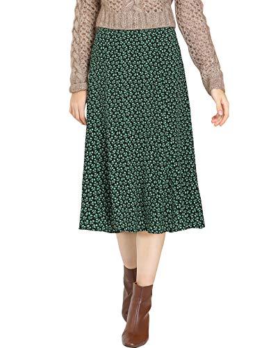 Allegra K Women's Floral Midi Skirt Peasant Elastic Waist A-Line Ditsy Leave Print Skirts Medium Green
