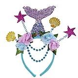 fixiyue Halloween Carnevale Ragazza Marine Paquinshell Shell Mermaid Capelli Fori Fori per Capelli Sirena di Paillettes