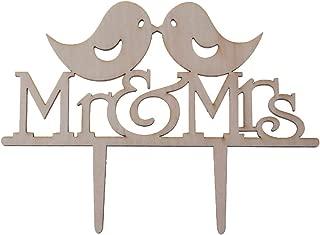 Forgun Mr&Mrs Love Bird Romantic Wooden Cake Topper Bride Groom Wedding Party Favors Top Letter Decoration
