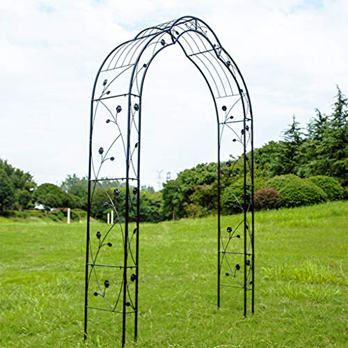 Garden Arch, Outdoor Flower Garden Arch Trellis, Durable Steel Garden Arbor for Climbing Plants, Wedding Decoration (Black)