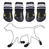QUMY Dog Boots Shoes for Large Breed Dogs with Reflective Strip Rugged Anti-Slip Sole 4PCS (Size 6: 3.0'x2.6'(LW) for 52-65 lbs, Black-Upgrade)