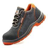 Zapatos con punta de acero de los hombres de trabajo zapatos transpirables de seguridad industrial de la construcción del resbalón no resistente a los pinchazos de excursión los zapatos,Gris,43