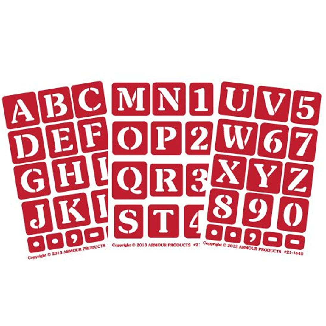 Armour Products Etch Over N Over Stencil with 1.5-Inch Letters, 3 Sheets
