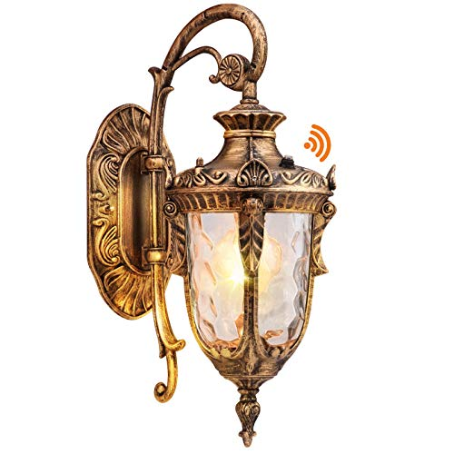 PARTPHONER Dusk to Dawn Outdoor Light Fixture Wall Mount, Waterproof Porch Light Fixtures Wall Lamp, Outside Wall Sconce Exterior Wall Lamp with Textured Glass for House, Front Door, Garage(Gold)