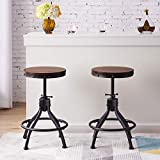 Industrial Adjustable Height Bar Stools Set of 2, 18.11-24.8 Inch Vintage Round Wood and Metal Bar Stools for Kitchen Dining Counter,Rustic Brown