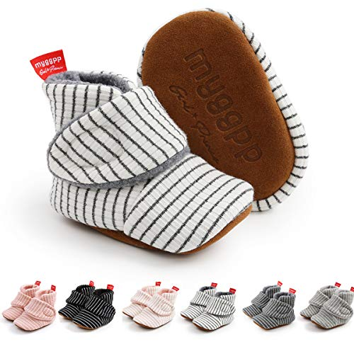 Ohwawadi Baby Booties Infant Baby Slippers Boots Stripes Soft Bottom Socks Shoes Newborn Crib Shoes