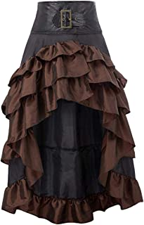 Succper Steampunk Vintage Gothic Victorian Lace Patchwork Ruffled Bustle Skirt