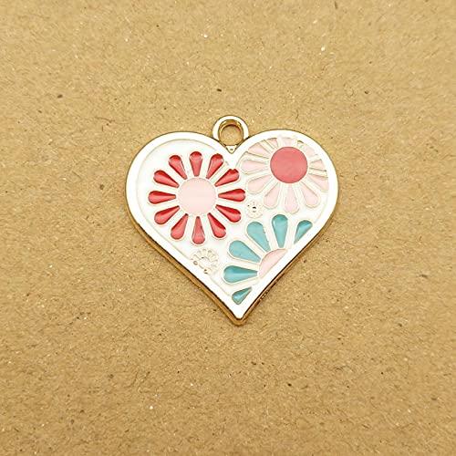 ZZMMSSGG 10Pcs 21X21Mm Enamel Charm Heart Flower for Making Cute Earring Pendant Bracelet Necklace Charms DIY Design Charms