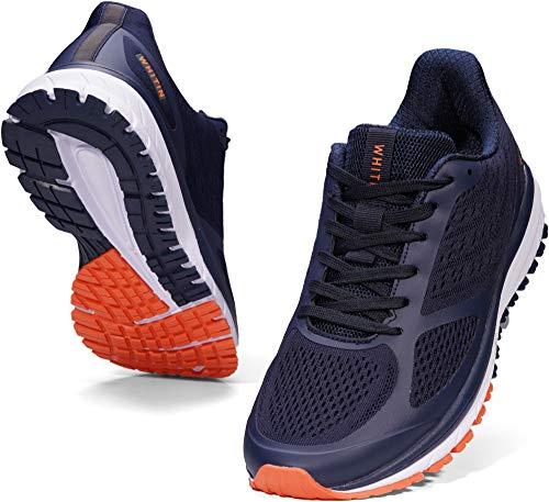 WHITIN Laufschuhe Herren Joggingschuhe Straßenlaufschuhe Turnschuhe Sportschuhe Gym Schuhe Walkingschuhe Fitnessschuhe Leichte Bequem Alltagsschuh Sneakers Sommerschuhe Blau 43 EU