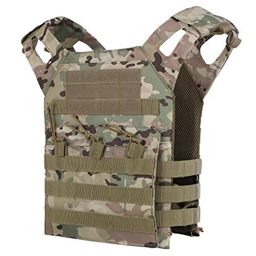 BYHai Tactical CS Field Assault Vest Law Enforcement Breathable Combat Training Vest Nylon Adjustable for Unisex Adults (Camo)