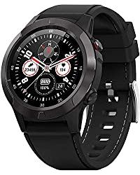 Image of Smart Watch for Android Phones iOS, GPS Smartwatch for Men with Heart Rate and BP Monitor, Pedometer, Text Call Notification, Compass, Barometer, Altitude, Leather and Rubber Bands, Round Face, 2020: Bestviewsreviews